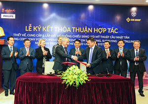 Sun Group and Philips Lighting Vietnam sign Cooperation Agreement on the supply of lighting equipment for Nhat Tan Bridge